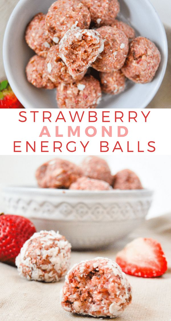 These strawberry almond energy balls are jam packed with healthy ingredients, an…