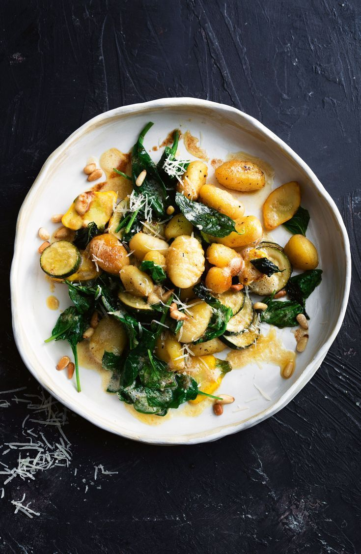 Burnt Butter Lemon Basil Gnocchi with Spinach, Squash, Zucchini and Pine Nuts