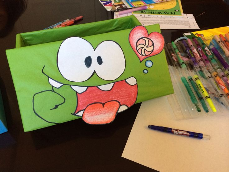 Valentines Day school mailbox that I made myself. OmNom Cut the Rope