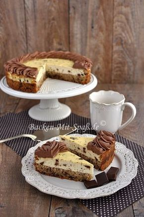 Tasty cheesecake with chunks of chocolate and thick nut chocolate. The…