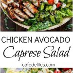 Balsamic Chicken Avocado Caprese Salad is a quick and easy meal in a salad drizz...