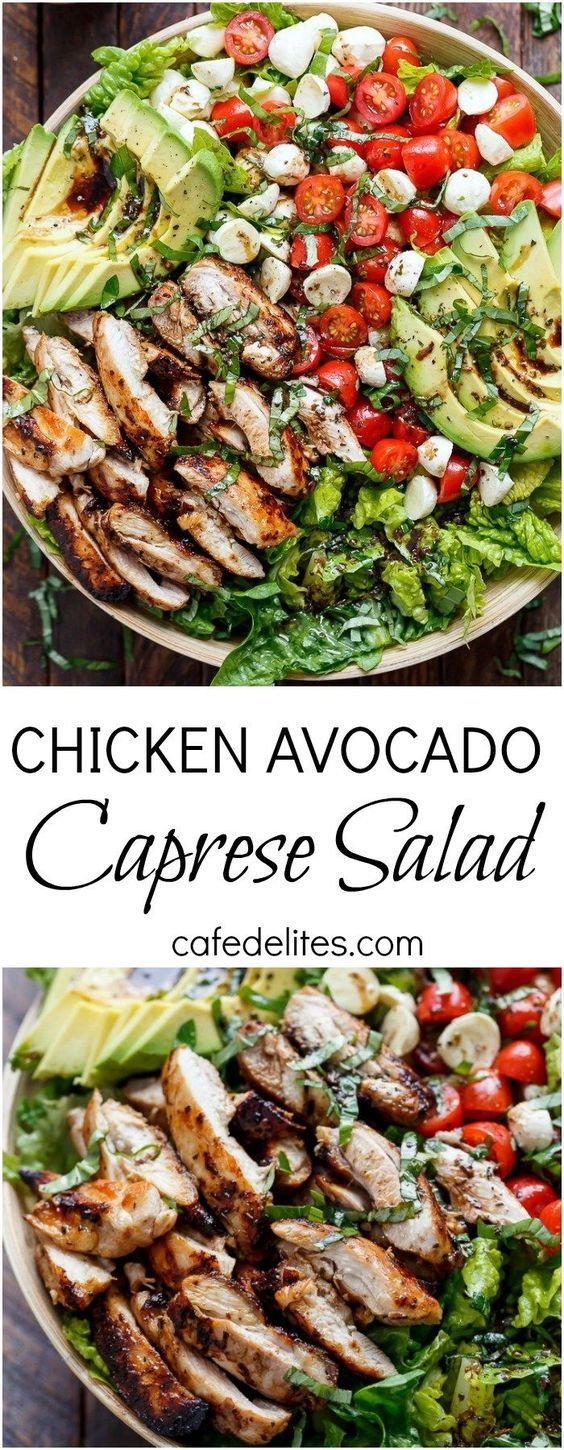 Balsamic Chicken Avocado Caprese Salad is a quick and easy meal in a salad drizz…