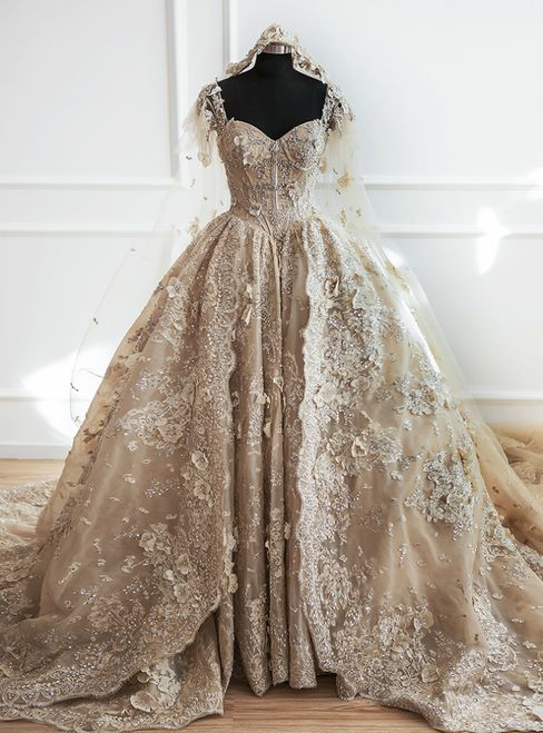 Luxury Champagne Ball Gown Off The Shoulder Appliques Haute Couture Wedding Dres…
