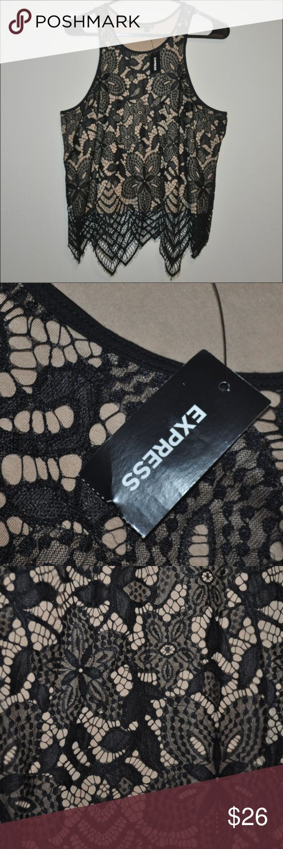 NWT Express Black Lace Top BRAND NEW WITH TAG / tags: beauty beautiful stunning …