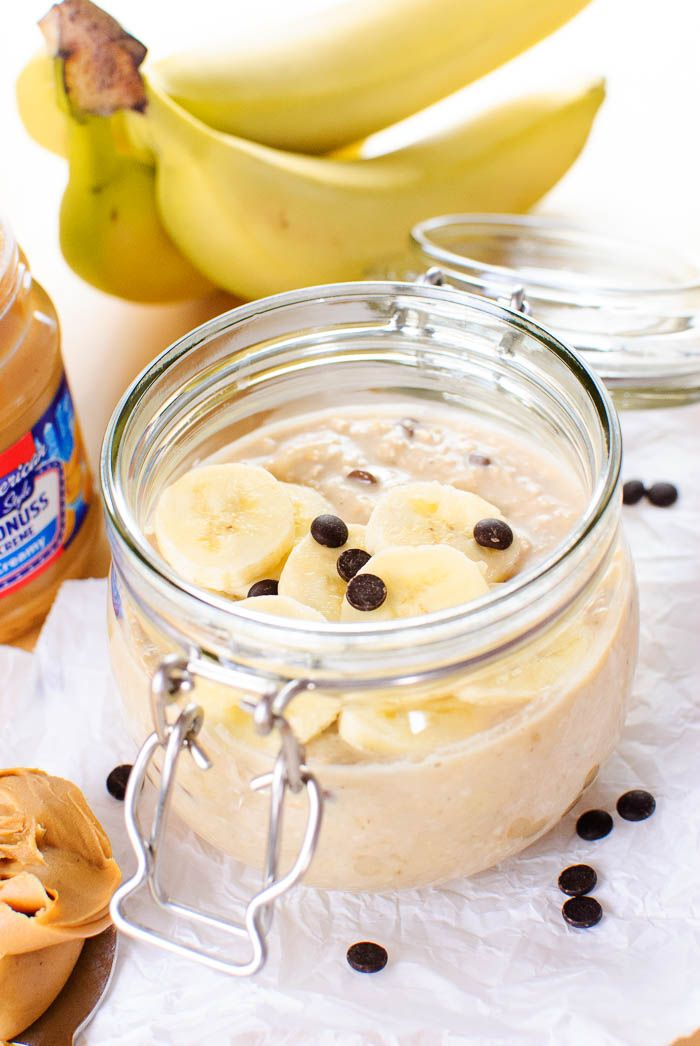 Banana Peanut Butter Overnight Oats with Chocolate Chips {vegan}
