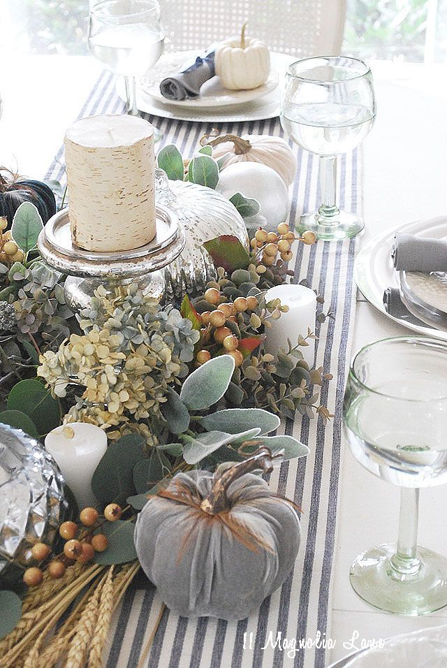 Fall decor–steel gray and slate blue, mixed with natural materials. An easy non…
