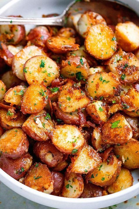 Roasted Garlic Butter Parmesan Potatoes – These epic roasted potatoes with garli…