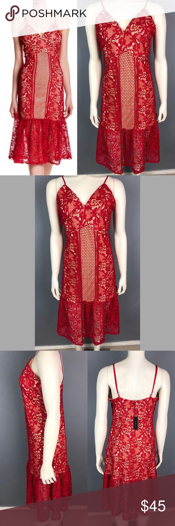 NWT Romeo + Juliet Couture red v-neck lace dress New with tags Romeo + Juliet Co…