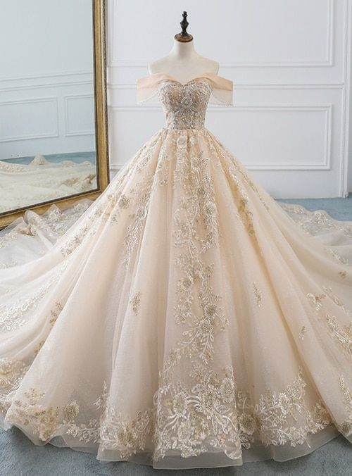 Champagne Ball Gown Tulle Lace Appliques Off The Shoulder Haute Couture Wedding …