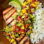Grilled lime salmon with mango avocado salsa and coconut rice Classy cook ...