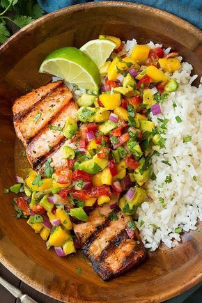 Grilled lime salmon with mango avocado salsa and coconut rice Classy cook …