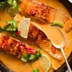 An incredible Poached Salmon with a Coconut Lime Sauce that's quick and easy...