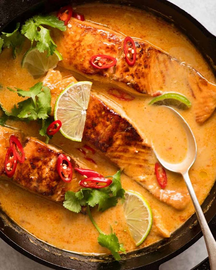 An incredible Poached Salmon with a Coconut Lime Sauce that's quick and easy…