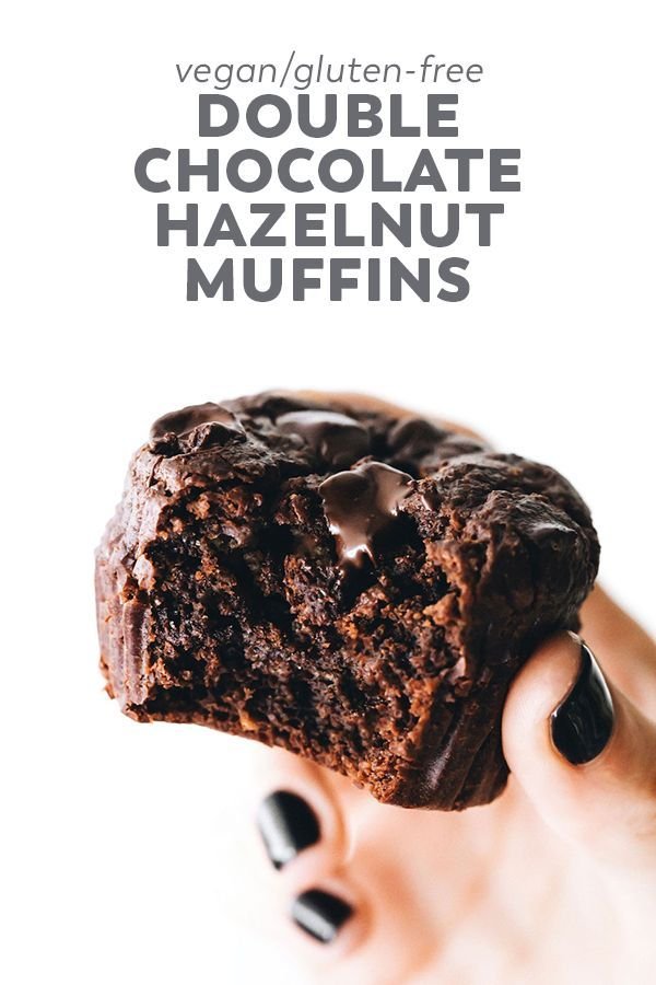 Easy, ultra rich Double Chocolate Hazelnut Muffins with oats, hazelnuts, cacao, …