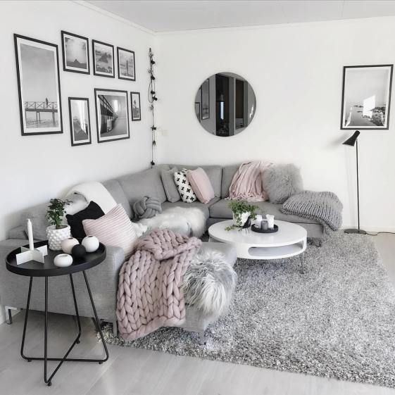 I love this light gray modern and cozy living room decor #Living room …