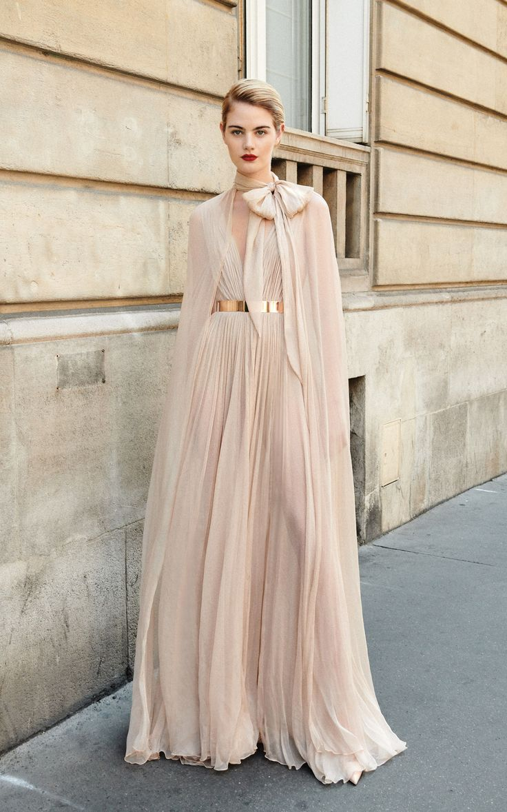 The #DreamyNovak is a stunning soft nude chiffon gown from the Galia Lahav 'And …