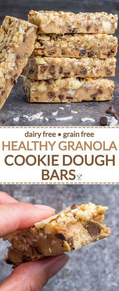 These healthy, nutty cookie dough bars are made with real food ingredients, dair…