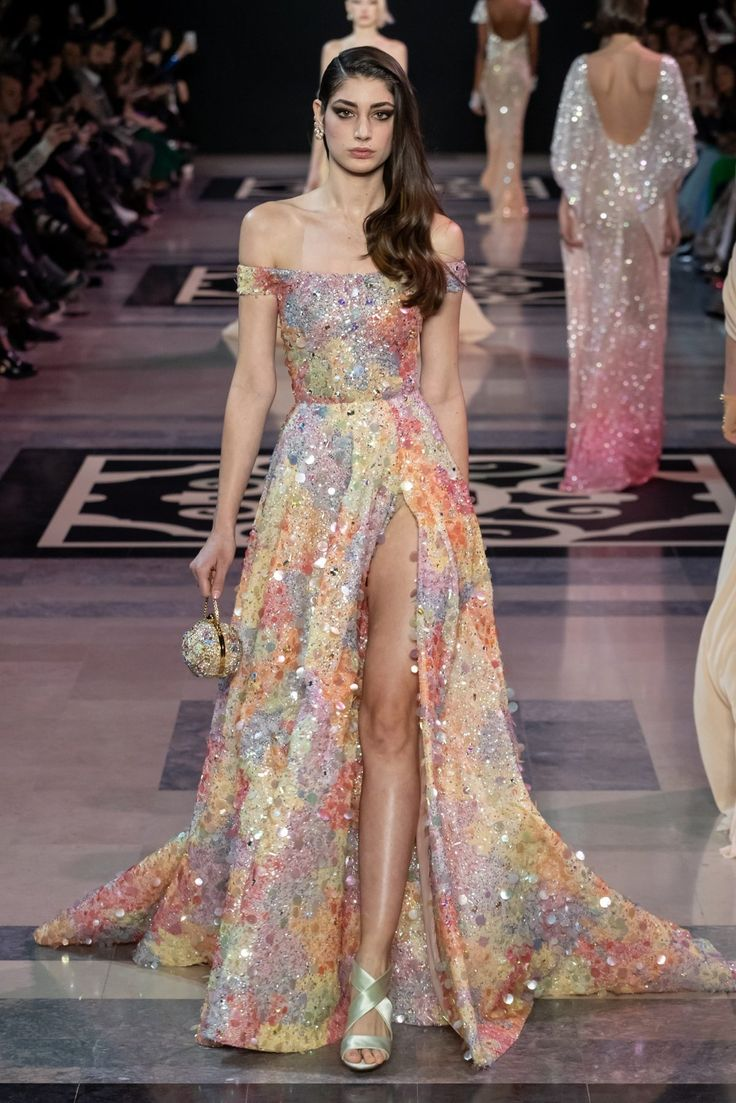 Georges Hobeika Spring 2019 Couture: Gorgeous sequin multi colored off shoulder …