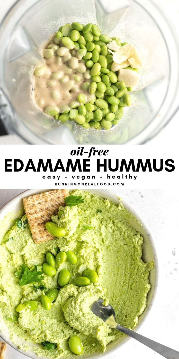 An easy, vegan, oil-free edamame hummus recipe that's high in protein, low i…