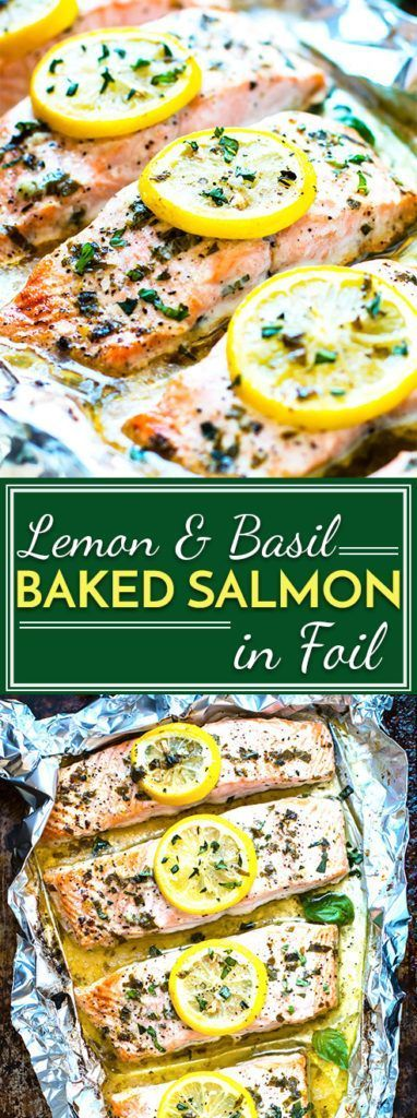 Basil & lemon baked salmon in foil is a healthy and easy way to make a low-carb,…