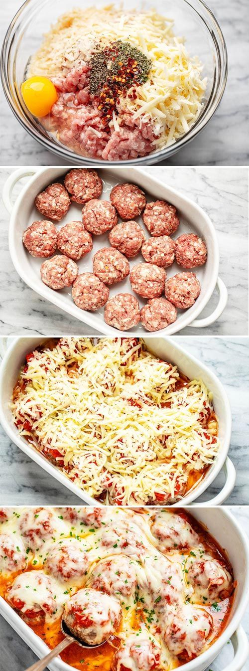 Cheesy Meatballs Casserole {Low Carb} – #lowcarb #meatballs #recipe #eatwell101 …