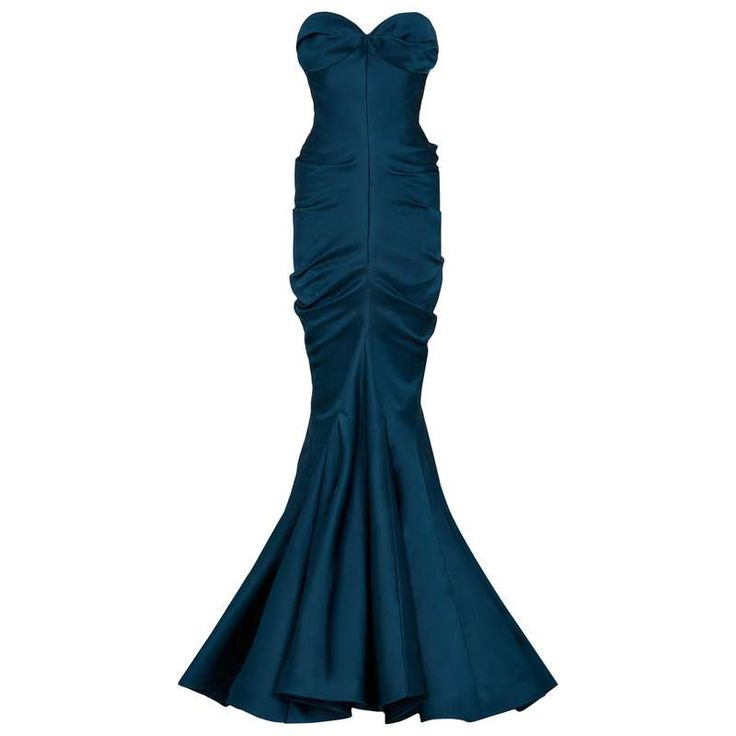 Christian Dior Vintage Haute Couture Silk Satin Corset Sculpted Gown For Sale at…