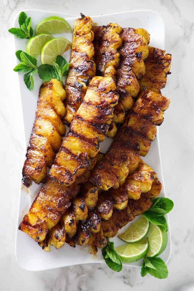 Cinnamon sugar gives this grilled pineapple a delicious caramelized coating and …