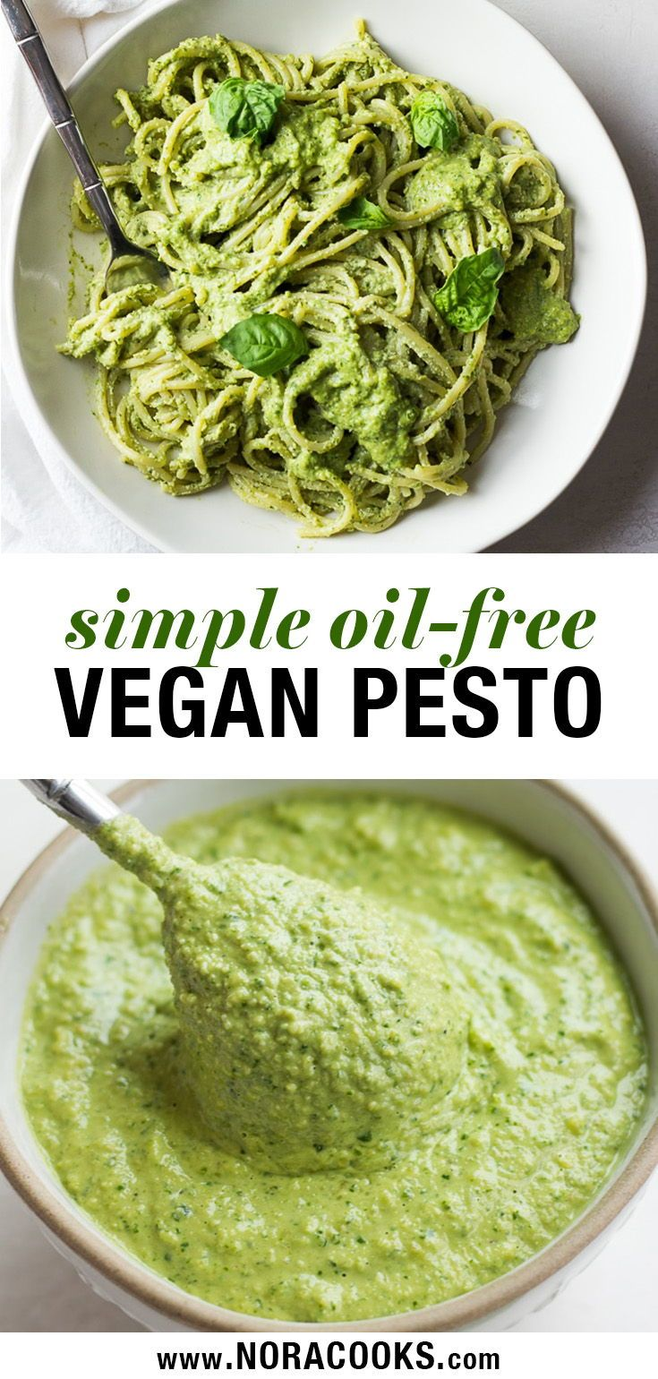 Easy Vegan Pesto Recipe, oil free and made with cashews for a cheesy, buttery fl…