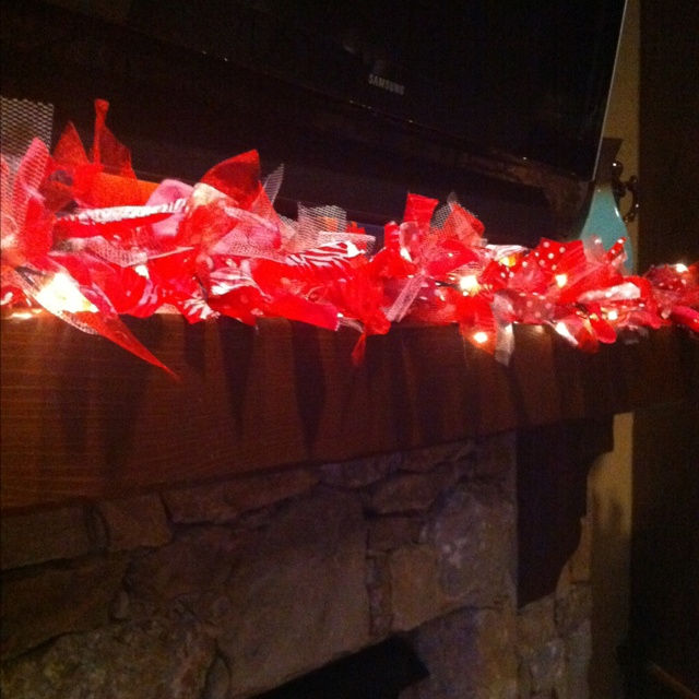 Fabric scrap garland – LED light strand tied with 2×8 inch scraps of tulle and s…