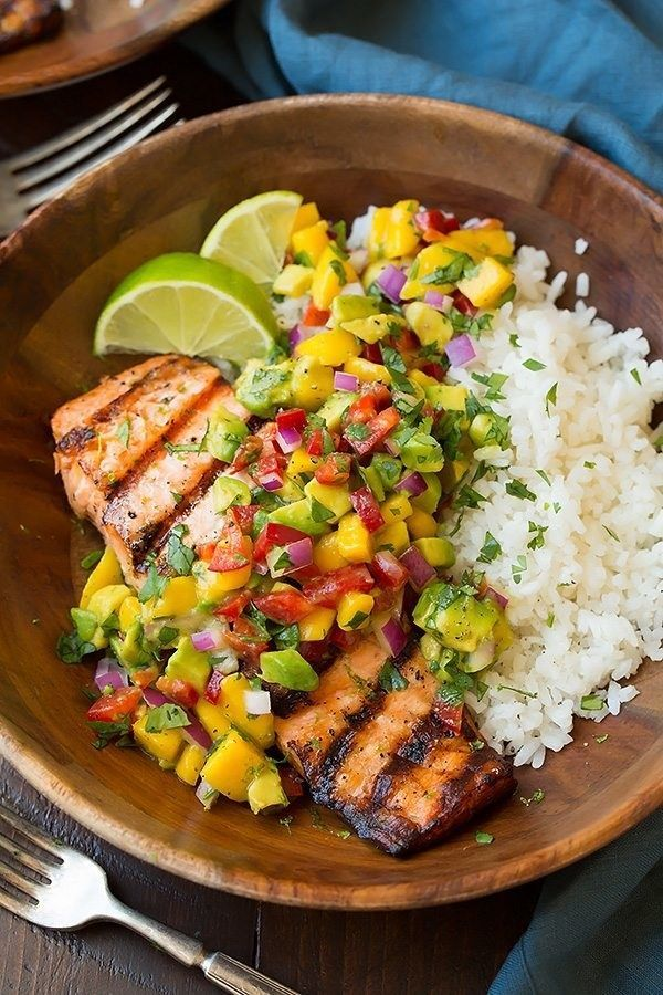 Grilled Lime Salmon With Avocado-Mango Salsa and Coconut Rice | 31 Delicious Thi…