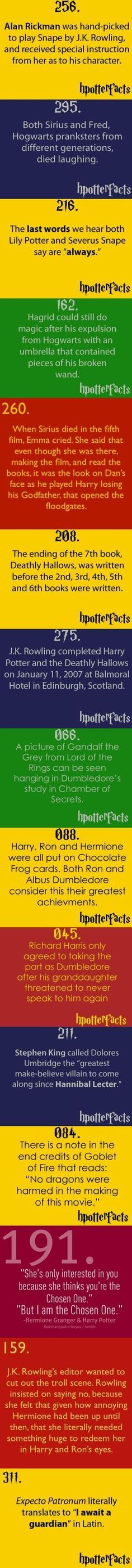 """HP facts — Some of these are fairly """"common knowledge"""" in the fandom, but some…"""