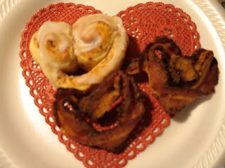 Happy Valentines Day!!  Heart shaped cinnamon rolls and bacon!!