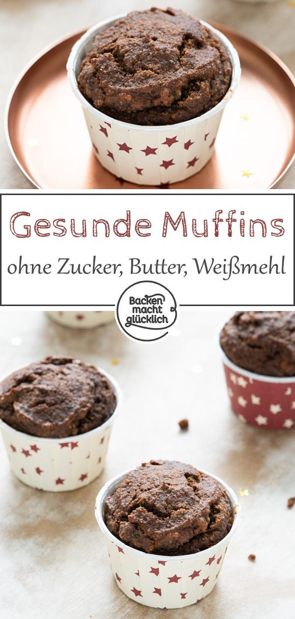 Healthy chocolate muffins with no sugar, white flour and butter – which are super supple …