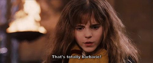 """Hermione """"That's totally barbaric"""" gif"""