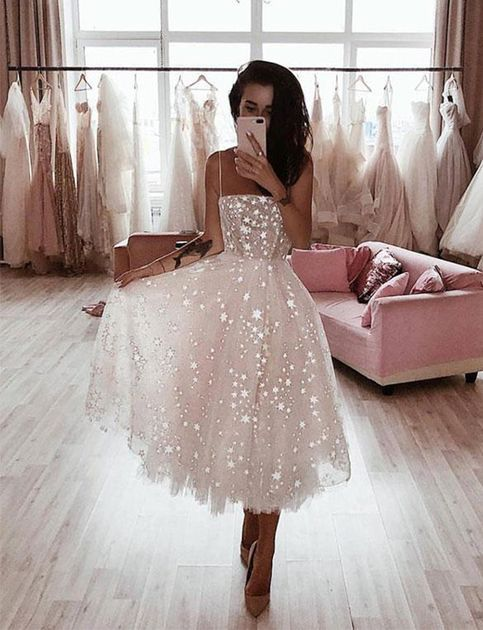 High Fashion White Prom Party Dresses Spaghetti Straps with Appliques – Small …