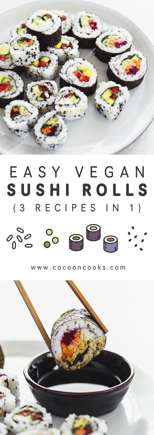Learn how to make vegan sushi at home with these 3 simple sushi roll recipes. 10…
