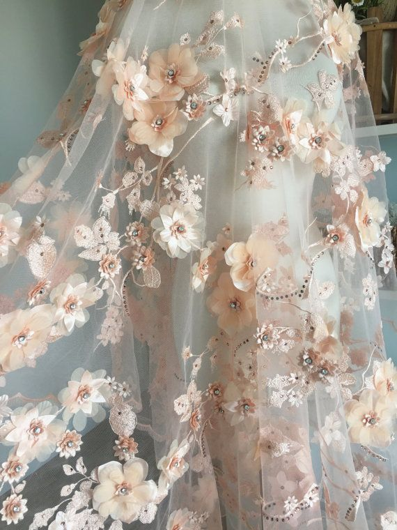 Luxury 3D Beaded Flower Lace Fabric in Blush , Scallop Bridal Dress Wedding Gown…