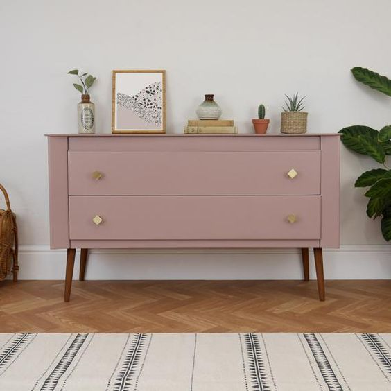 Pouting space pink by Farrow and Ball on a mid-century mod …