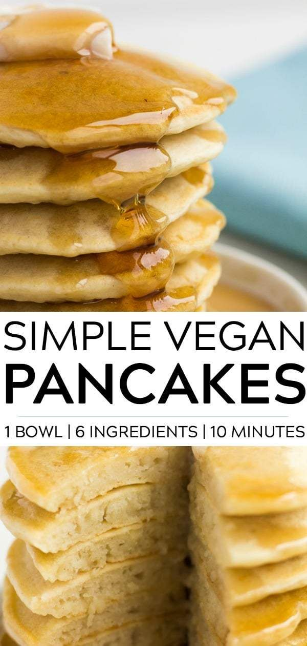 Simple vegan pancakes with only 6 ingredients, 1 bowl and 10 minutes. So fluffy,…