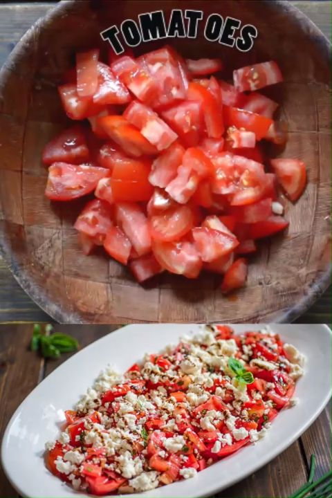 Tasty and  simple Tomato Feta Salad made with fresh herbs, succulent tomatoes, c…