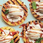 Tempting dessert for the summer party: Grilled pineapple with ice and kara ...