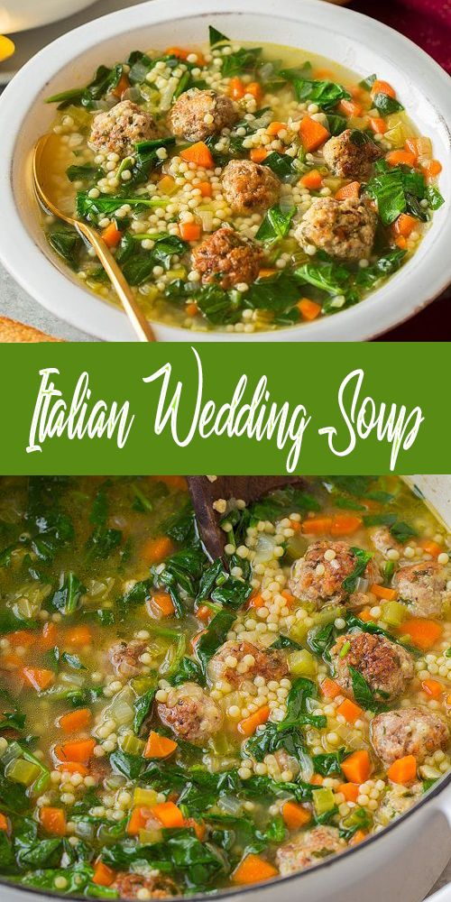 The BEST Italian Wedding Soup! Filled with homemade browned meatballs, fresh veg…