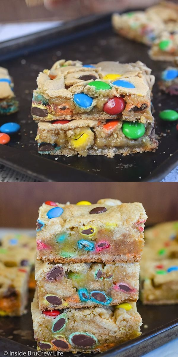 These soft and tough cookie bars are filled with many colorful candies.