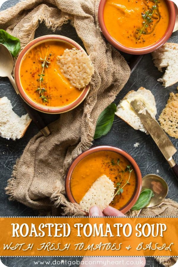 This Roasted Tomato Soup with Fresh Tomatoes and Basil truly is the ultimate sou…