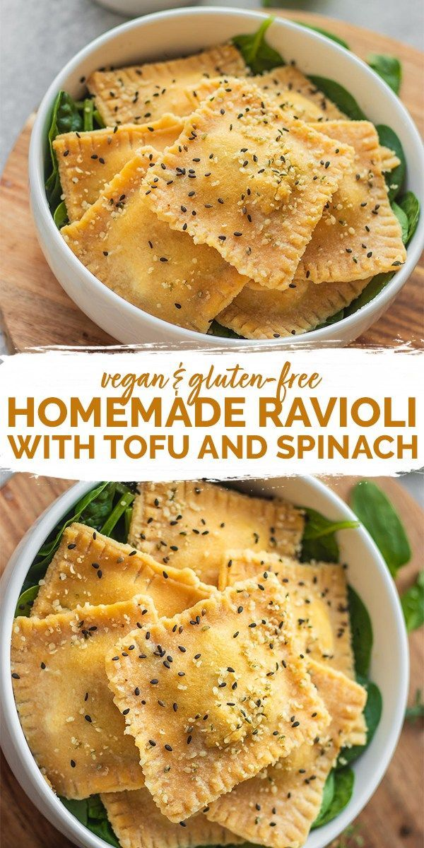 This homemade vegan ravioli recipe with an easy tofu and spinach filling is perf…