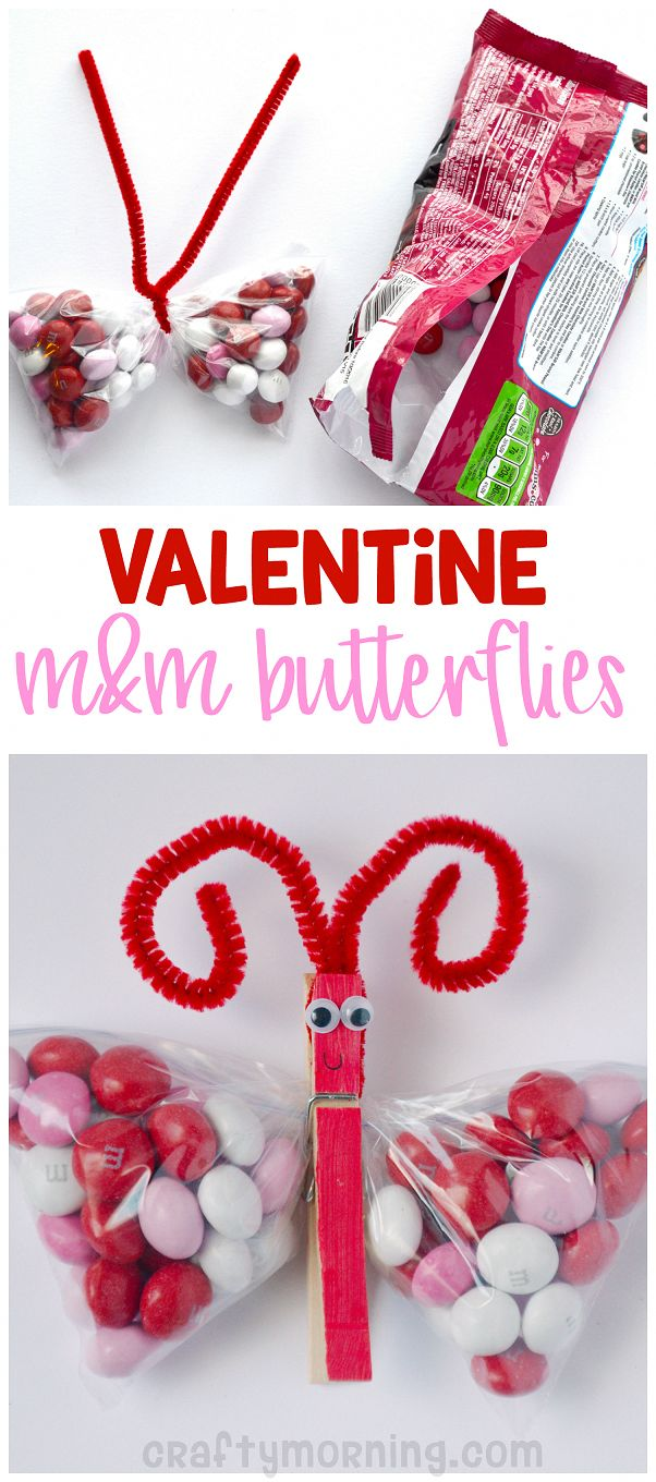 Valentine butterfly m&m treats! What a cute gift idea for the kids on valentines…