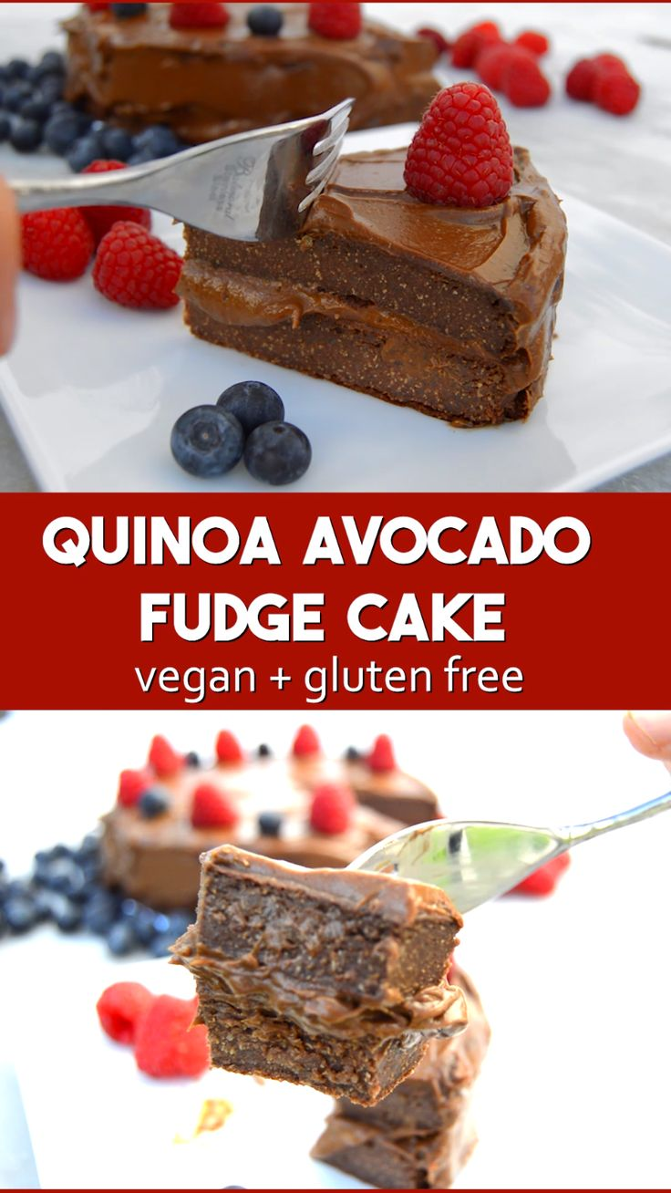 Vegan Healthy Quinoa Chocolate Cake – flour and egg free with a chocolate avocad…