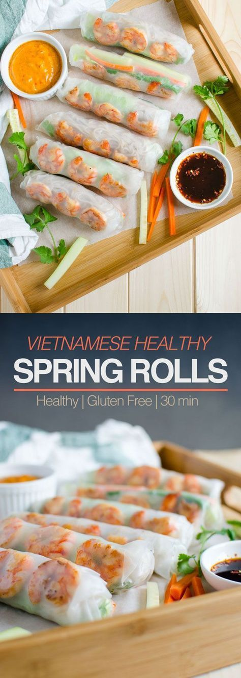Vietnamese healthy spring rolls with peanut butter sauce – #butter #Healthy #Pea…