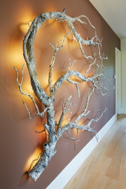 Wall design made of branches and branches