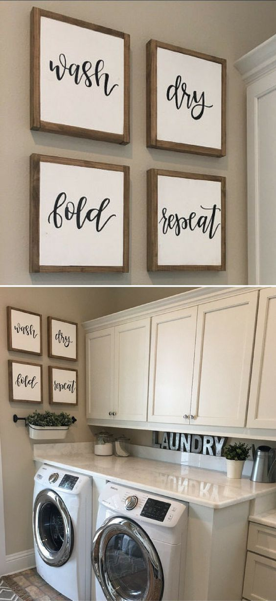 Wash dry fold repeat sign | Laundry Sign | Rustic home …